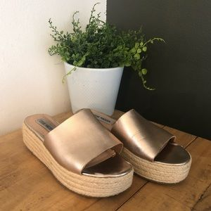 [Steve Madden] Rose Gold Rope Wedges - Size 7